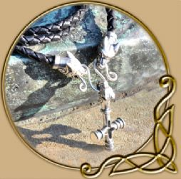 Norse wolf cross silver necklace
